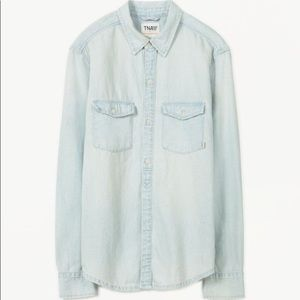 Aritzia TNA Bleached Denim Button Down Shirt